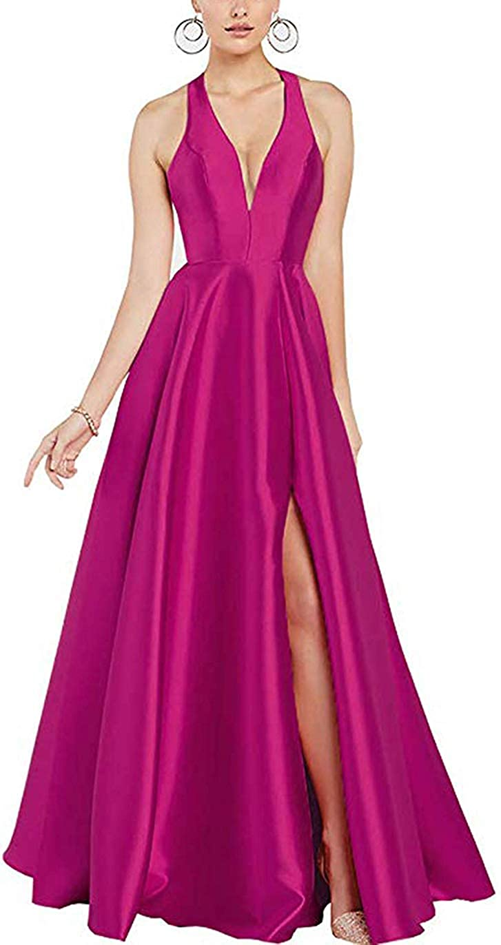 Fuchsia ZLQQ Women's Halter VNeck Backless Prom Dresses Long Side Slit Evening Formal Party Gown