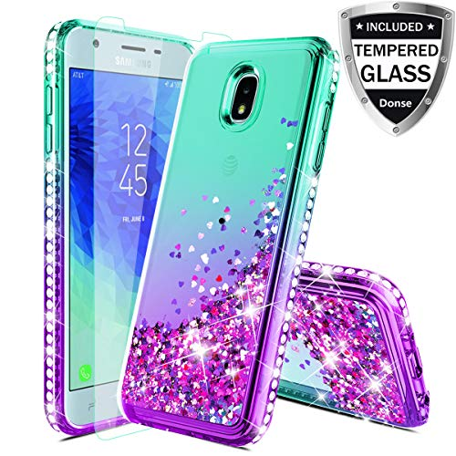 Case for Samsung Galaxy J3 2018,J3V J3 V 3rd Gen,J3 Orbit Case,Express Prime 3,J3 Star,J3 Achieve,Amp Prime 3 Case W/Glass Screen Protector,Glitter Liquid Quicksand Diamond F/Girls Women,Mint/Purple (Cheap Phone Cases For Samsung Galaxy S3)