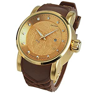 Gerosse Men's Luxury Dragon Design Dial Gold Plating Analog Wrist Watch, Unique Fashion Casual Quartz Watches, Calendar Date Window Dress Watch, Silicon Rubber Strap Watches for Men (Brown)