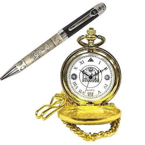 (Set) Masonic Engraved Ballpoint Pen And Freemason Goldtone Pocket Watch