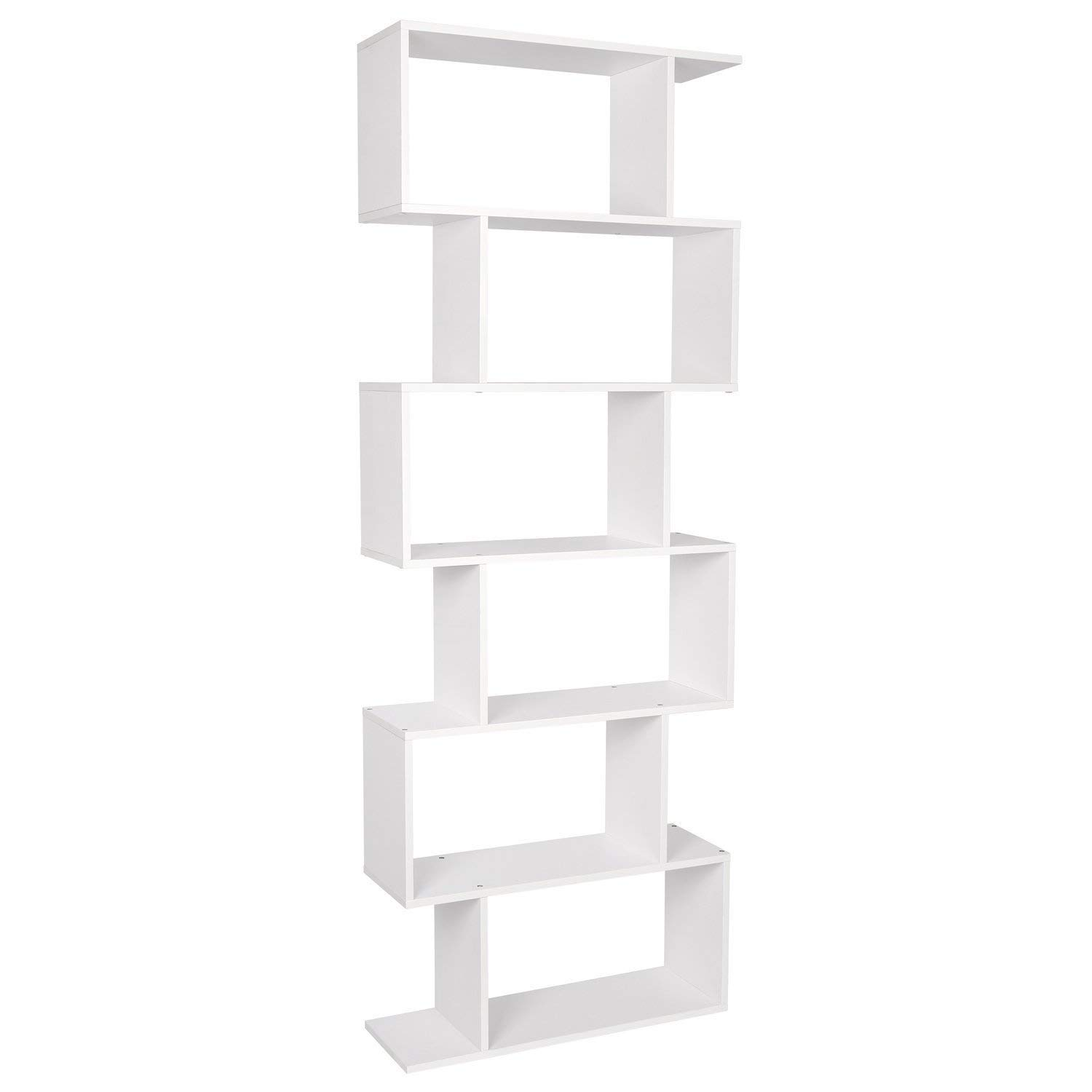 Homfa Wood Bookcase 6 Tier Shelves S Shape Bookshelf Free Standing Shelving Storage Display Unit for Living Room (Black) HF