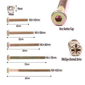 Crib Screws - 100PCS Zinc Plated Hex Drive Socket Cap Furniture Barrel Screws Bolt Nuts Assortment Kit for Furniture Cots Beds Crib and Chairs- M6 x 40mm/50mm/60mm/70mm/80mm