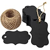 G2PLUS 100 PCS Black Paper Gift Tags with String, 2.75''x 1.97'' Kraft Hang Tags with 100 Feet Jute Twine (Black)