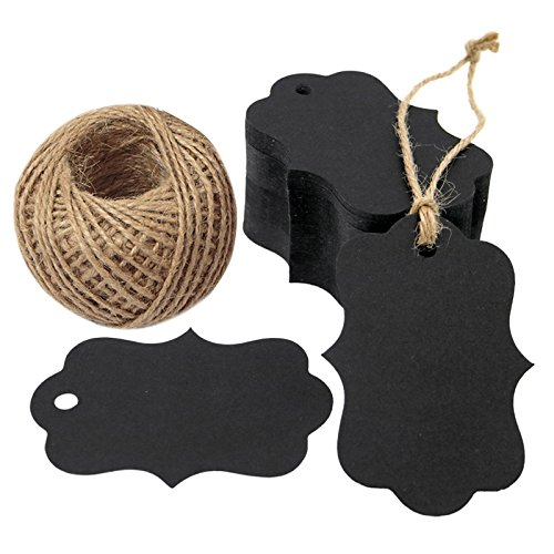 G2PLUS 100 PCS Black Paper Gift Tags with String, 2.75''x 1.97'' Kraft Hang Tags with 100 Feet Jute Twine -