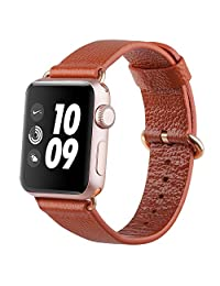 Apple Watch band 38mm, FashionAids Lichi Calf Leather iwatch strap Replacement Band with Golden Stainless Metal Clasp for Apple Watch Series 0 1 2 and Version 2015 2016 Brown-38mm