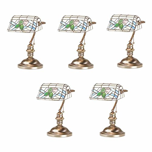Brass Solid Bankers Lamp (Renovator's Supply 5 Banker's Lamps Stained Glass Antique Brass Set Of 5)