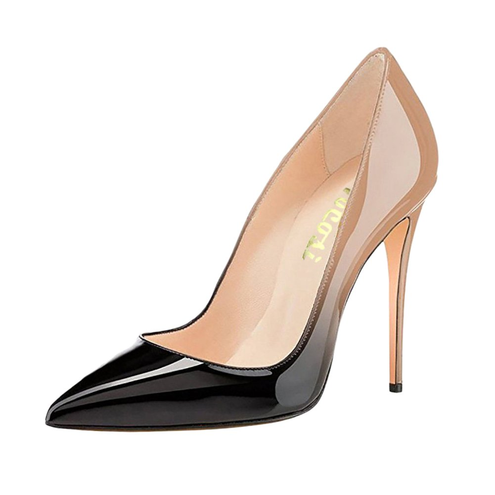 VOCOSI Pointy Toe Pumps for Women,Patent Gradient Animal Print High Heels Usual Dress Shoes B077P3GY73 9.5 B(M) US|Gradient Nude to Black With 10cm Heel Height