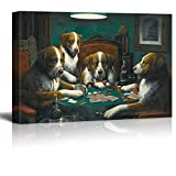 wall26 Canvas Wall Art - Dogs Playing Poker Series - Poker Game Painting by C.M Coolidge - Giclee Print Gallery Wrap Modern Home Decor Ready to Hang - 24x36 inches