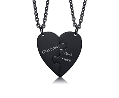 8ae516221f697 VNOX 3 Piece Heart Puzzle Piece Necklace Set Personalized Customized BBF  Friendship Necklace for 3