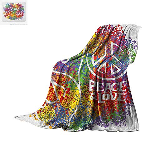 70s Party Lightweight Blanket Hippie Peace and Love Symbol and Signs Two Fingers Antiwar Colorful Design Art Velvet Plush Throw Blanket 50
