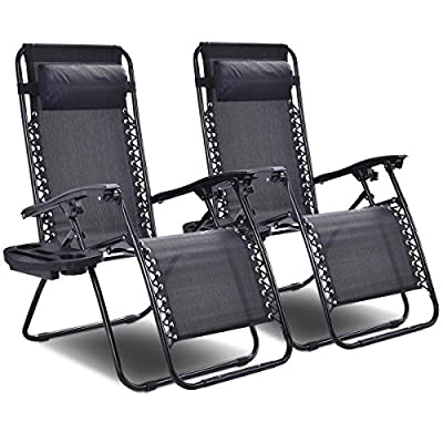 Giantex 3 PCS Patio Chaise Lounge Chairs Outdoor Yard Pool Textilene Recliner Folding Lounge Table Chair Set