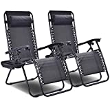 Giantex 2 PCS Zero Gravity Chair Patio Chaise Lounge Chairs Outdoor Yard Pool Recliner Folding Lounge Chair with Cup Holder (Black-2 PCS) Review