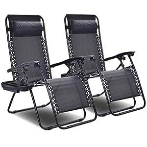 Amazon.com: 2 x Negro fuera de Zero Gravity relajarse silla ...