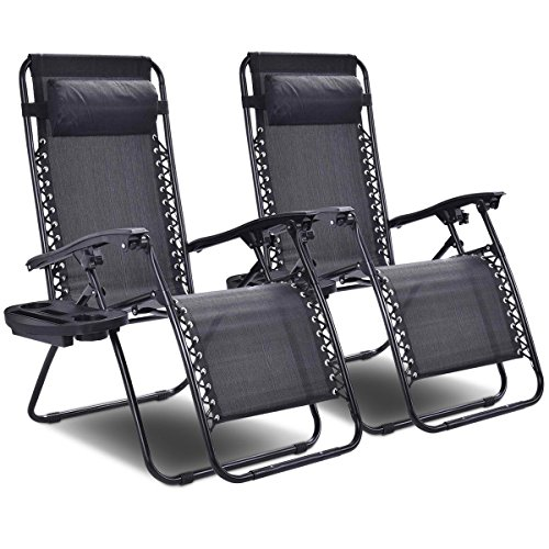 Anti Gravity Chair (Giantex 2 PCS Zero Gravity Chair Patio Chaise Lounge Chairs Outdoor Yard Pool Recliner Folding Lounge Chair with Cup Holder (Black-2 PCS))