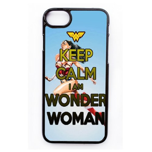 Coque,Apple Coque iphone 7 (4.7 pouce) Case Coque, Generic Keep Calm I'M Wonder Woman Cover Case Cover for Coque iphone 7 (4.7 pouce) Noir Hard Plastic Phone Case Cover