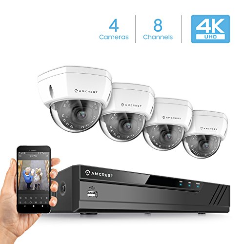 (Amcrest 8CH 4K Security Camera System w/ H.265 4K (8MP) NVR, (4) x 4K (8-Megapixel) IP67 Weatherproof Metal Dome POE IP Cameras (3840x2160), 2.8mm Wide Angle Lens, 98ft Nightvision (White))