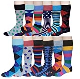 12 Pairs Pack Men's Premium Combed Cotton Fashion Funky Design Dress Socks 10-13 (Assorted Classic Design)