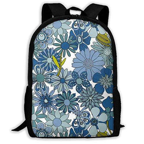 (Backpack Water Resistant Men Women Hiking Daypack Chelsea (BlueWhite) Vintage 60s 70s Enamel Pin Brooch Flower Floral Garden Pastel Sheet Illustration Spring Summer Bouquet_1274 Travel Backpack)