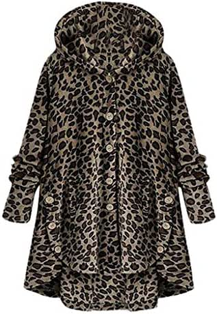 Outerwear for Women Plus Size Button Leopard Coat Fleece Asymmetrical Hem Hooded Pullover Top Sweater Overcoat