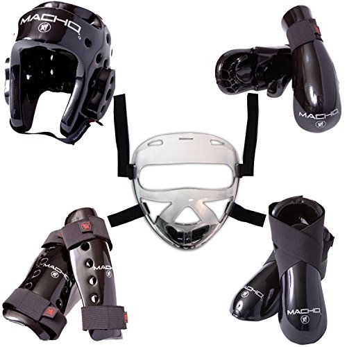 Macho Dyna 8 piece sparring gear set with shin guards and face shield black adult small ()
