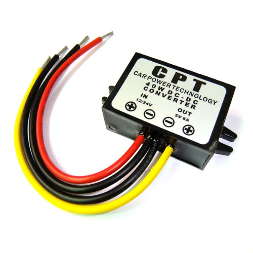 DROK DC Volt Converter 9-35V 12V/24V Step Down to 5V 8A/40W Car LED Power Supply Waterproof