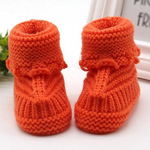 Vovotrade Weich und bequem Kleinkind neugeborene Baby-Knitting Lace Crochet Schuhe Buckle Handcrafted Schuhe (Rosa) Orange