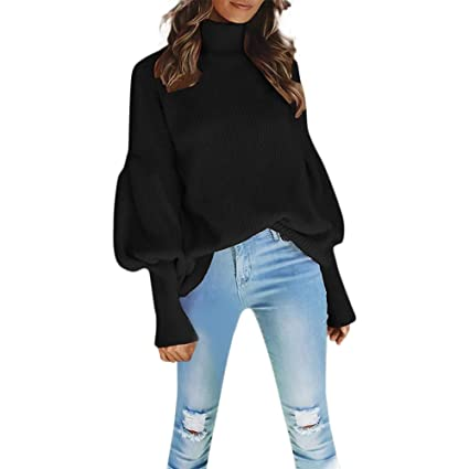 09a917f95f685c Image Unavailable. Image not available for. Color  Franterd Women Lantern Sleeve  Knitted Turtleneck Sweater Solid Fashion Loose Baggy Pullover Top ...