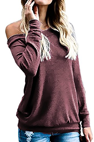 Drop Waist Skirt Knit - Off the Shoulder Shirts for Women Sexy Tops for Party Clubbing (L, Wine Red)