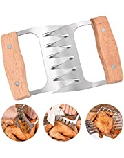 Meat Claws, Bear Paws Shredder Claws Stainless Steel BBQ Pulled Pork Paws with Wooden Handle - Set of 2