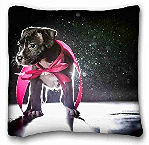 """Soft Pillow Case Cover ( Animals dog puppys ribbon shadow light ) Pillowcase Cover 16""""X16"""" One Side suitable for Queen-bed PC-Yellow-1166"""