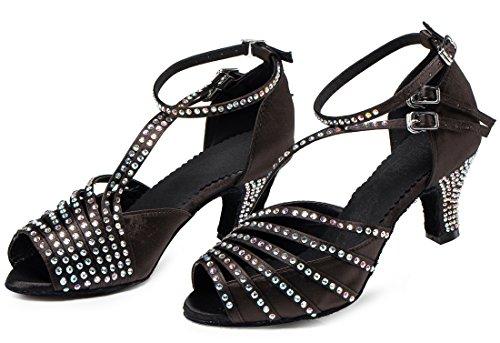 Tda Dames Enkelband Uitgesneden Kristallen Satijn Sexy Tango Ballroom Moderne Latin Dans Trouwschoenen Zwart