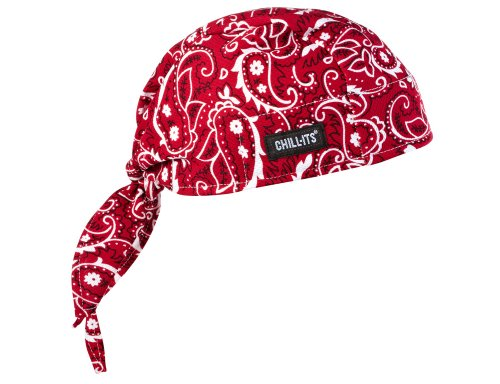 Ergodyne Chill-Its 6615 Absorptive Moisture-Wicking Dew Rag, Red Western