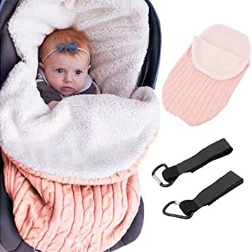 Newborn Baby Girls Boys Wrap Swaddle Blanket Knit Sleeping Bag,Lightweight Soft Thick Fleece Unisex Sleep Sack Stroller Winter Warm Receiving Nursery Pram Blankets for 0-12 Months Infant Toddler
