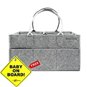 Diaper Caddy for New Parents | Newborn Shower Gift Basket | Nursery Tote Bag for Boys & Girls| Large Portable Car Travel Organizer | Baby Registry Gift or Room Storage for Changing Table