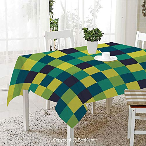 Dining Kitchen Polyester dust-Proof Table Cover,Yellow and Blue,Vivid Colored Squares Funky Simple Retro Style Grid Tile,Indigo Petrol Blue Lime Green,Rectangular,59 x 59 inches