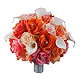 Extra Large Bridal Bouquet - Peach, Coral, Orange, Pink Colors with Calla Lily - Artificial Flowers