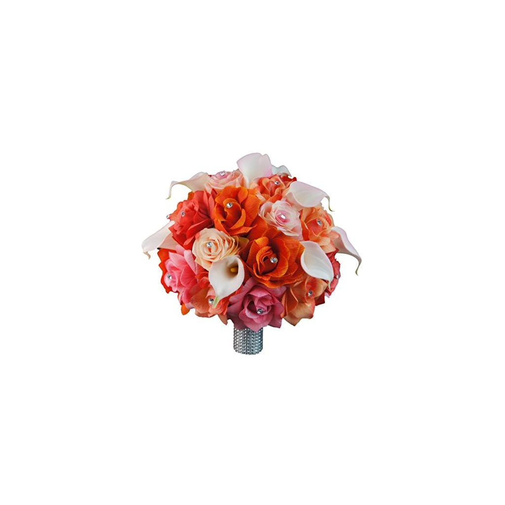 Extra-Large-Bridal-Bouquet-Peach-Coral-Orange-Pink-Colors-with-Calla-Lily-Artificial-Flowers