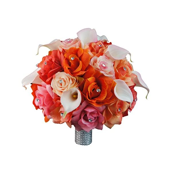 Extra Large Bridal Bouquet – Peach, Coral, Orange, Pink Colors with Calla Lily – Artificial Flowers