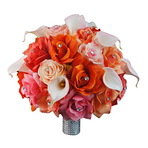 Extra Large Bridal Bouquet - Peach, Coral, Orange, Pink Colors with Calla Lily - Artificial Flowers by Angel Isabella