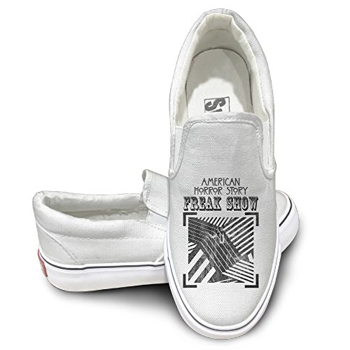 [Harriy Story Freak Show Unisex Casual Flat Canvas Sneaker Shoes 43 White] (Lady Gaga Costumes Ahs)