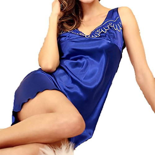 YUYU Frauen Sommer Seide Nachthemd Spitze V-Hals Ärmellos Lose Pyjamas , blue , l