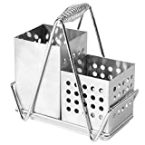 Stainless Steel Perforated Design Dual-Basket Utensil Caddy with Wall Mounting Bracket and Handle