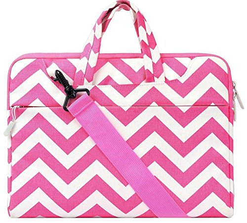 Mosiso Chevron Style Fabric Sleeve Case Cover Bag with Shoul