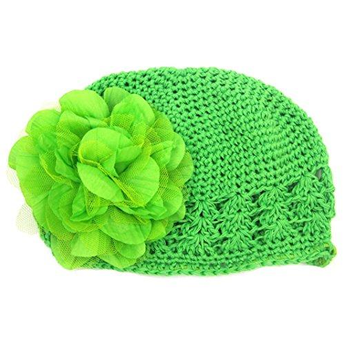 Toddler Infant Baby Girl Cute Big Chiffon Flower Knitted Hat Headwear Crochet Beanie Cap (Green) -