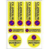 Planche A4 de stickers stationnement interdit adhésif autocollant - C33