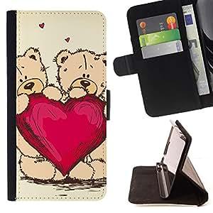 BullDog Case - FOR/Samsung Galaxy S6 / - / heart teddy bear love couple romance art /- Monedero de cuero de la PU Llevar cubierta de la caja con el ID Credit Card Slots Flip funda de cuer