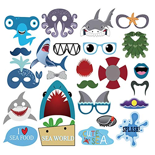 iMagitek 25 Pack Under The Sea Theme New Shark Octopus Party Photo Props for Sea Themed Birthday Party, Baby Shower, Sea Hawaii Party Supplies Decorations]()