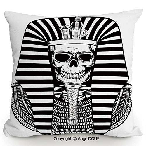 - AngelDOU Cotton Linen Square Throw Pillow,Egyptian Pharaoh Ruler Mummy Skull Skeleton Statue for Ancient Egypt Lovers Print,for Bed Living Room Sofa Office Hotel Cafe.13.7x13.7 inches