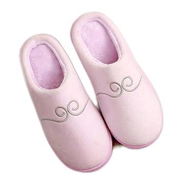 SSYY-Pareja de Invierno Zapatillas de algodón Comodidad Cute Dibujos Animados Zapatillas de Felpa Respirable Antideslizante Zapatillas de casa Interiores ...