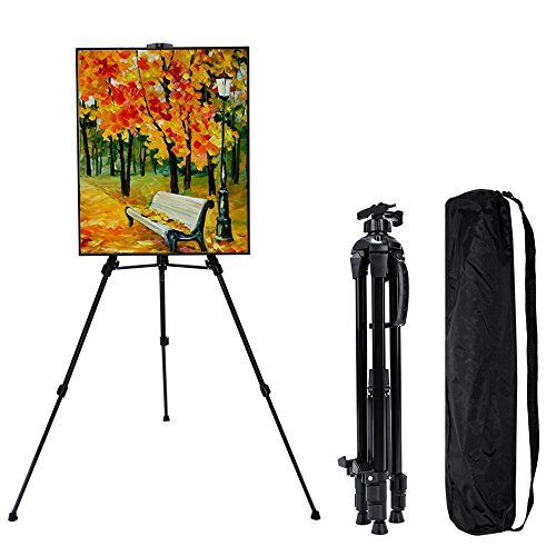 Soefipok Art Tripod Easel Stand Display Portable Easels Adjustable Lightweight Aluminum Floor Easels Upgraded Painting Field Easel With Carry Bag by Soefipok